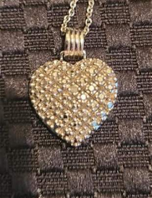 Sterling Silver Diamond Accent Pave Heart Pendant with