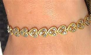 18k over Sterling Silver Diamond Accent Heart Bracelet