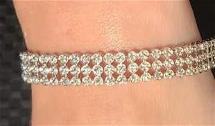 sterling silver .5 carat genuine diamond bracelet three