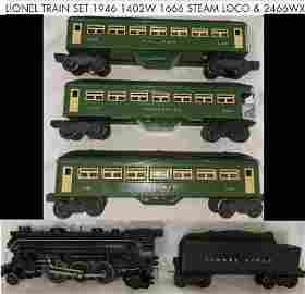 LIONEL train 1946 1402W  1666 STEAM LOCOMOTIVE & 2466WX