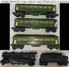 LIONEL TRAIN SET 1946 1402W  1666 STEAM LOCO & 2466WX