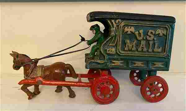 1950 Hubley Cast Iron Toy 128 Mail Wagon