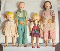 Schoenhut dolls. 1935 american wooden pinn family dolls