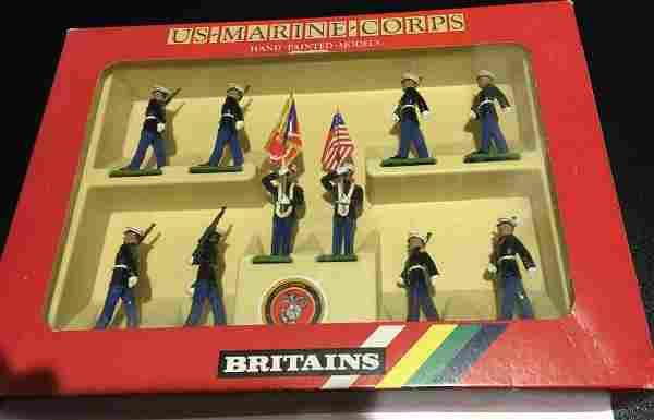 Britains Set 7303 10 US Marine Corps Toy Soldiers Metal