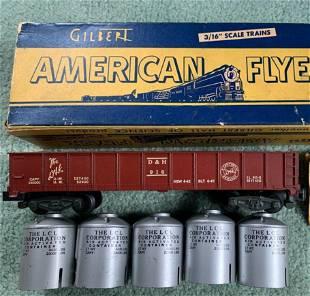 American Flyer #916 D&H gondola w/5 silver cans + box