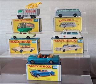 5 Matchbox lensey cars + original box 11, 40, 45,54,69