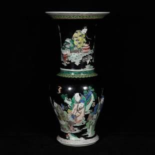Qing kangxi style wu cai porcelain vase
