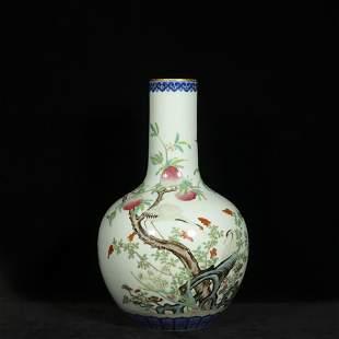 19th century famille rose porcelain bottle