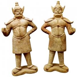 Chinese Pottery Painted Terracotta Statue Pair