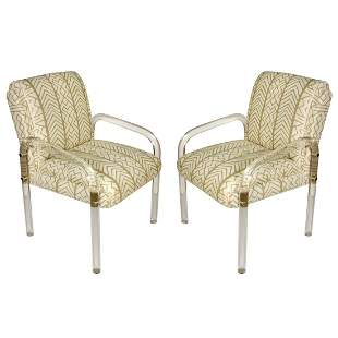Lucite Matel And Fabric ArmChair Pair