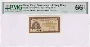 P-313b ND 1941 Hong Kong Government 1 Cent PMG66EPQ