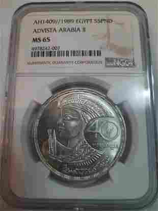 AH1409 1989 Egypt S5PND NGC MS65 Silver Coin