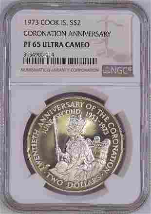 1973 Cook Island S$2 NGC PF65 Ultra Cameo Silver Coin