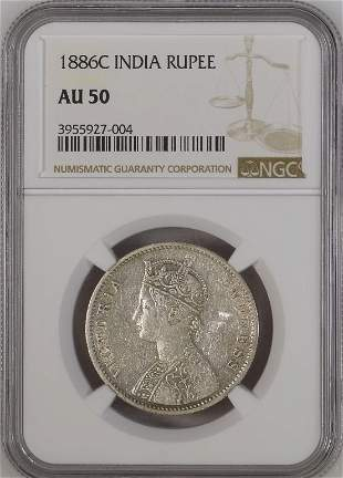 1886C India Rupee NGC AU50 Silver Coin