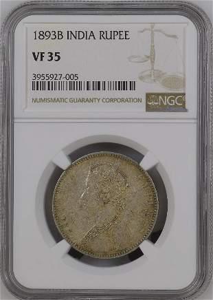1893B India Rupee NGC VF35 Silver Coin
