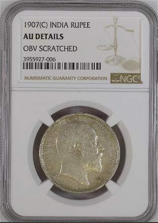 1907C India Rupee NGC AU Details Silver Coin