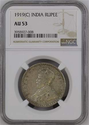1919C India Rupee NGC AU53 Silver Coin
