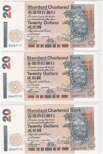 Lot of 5 1997 Hong Kong Chartered Bank $20 UNC