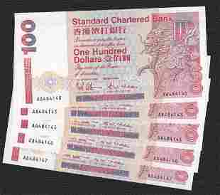 Lot of 5 1993 Hong Kong Chartered Bank $100 Prefix AA