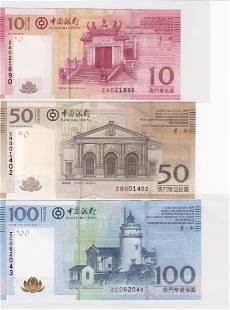 Lot of 3 2008 Macau Bank of China 10,50,100 Replacement