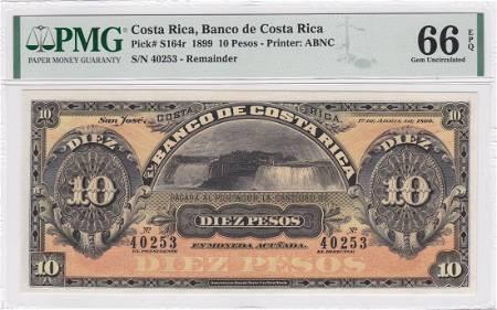 P-S164r 1899 Costa Rica 10 Pesos PMG 66EPQ Remainder