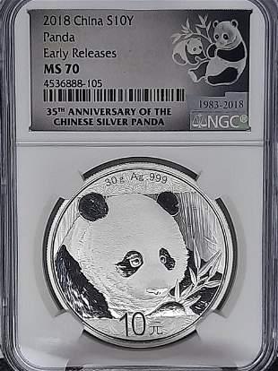 2018 China 10 Yuan NGC MS68 Panda Silver coin