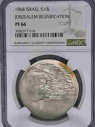 1968 Israel 10L NGC PF66 Silver Coin
