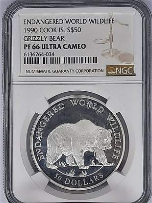 1990 Cook Island $50 NGC PF66 Ultra Cameo Grizzly Bear