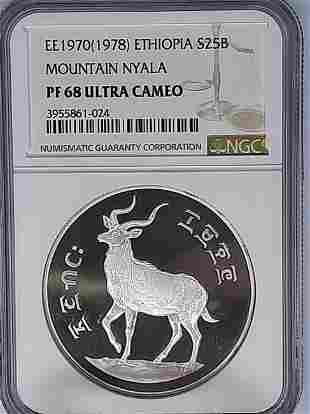 1978 Ethiopia 25B NGC PF68 Ultra Cameo Mountain Nyala