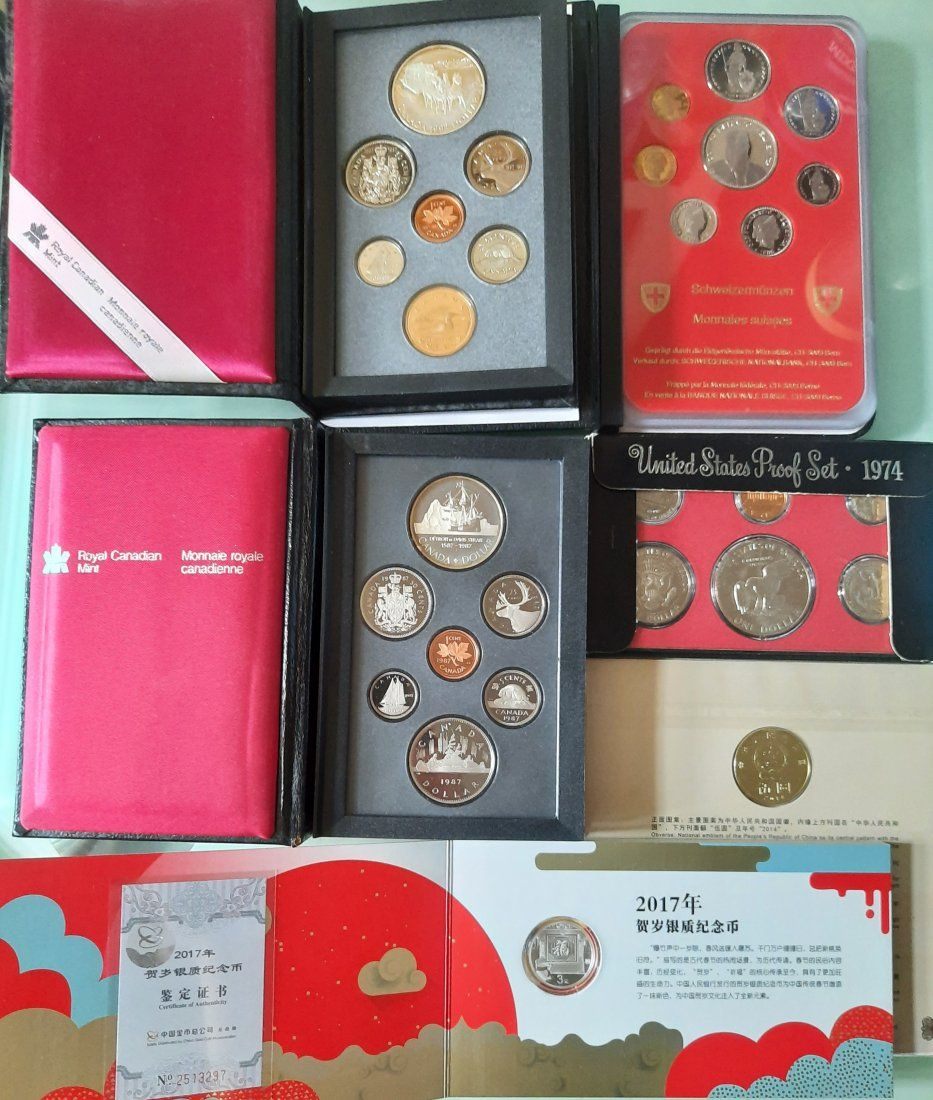6 different Proof Coin Set China Canada Switzerland USA