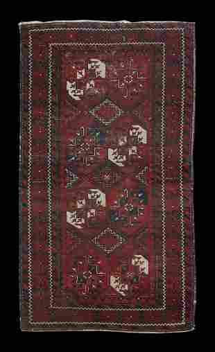 "Semi-antique 5 '11"" x 3' 2"" Persian Balouch Throw Rug"