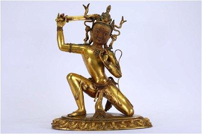 A GILDING COPPER  MANJUSRI BODHISATTVA STATUE