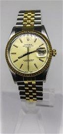 18k Rolex DateJust two tone watch. Ref 15053