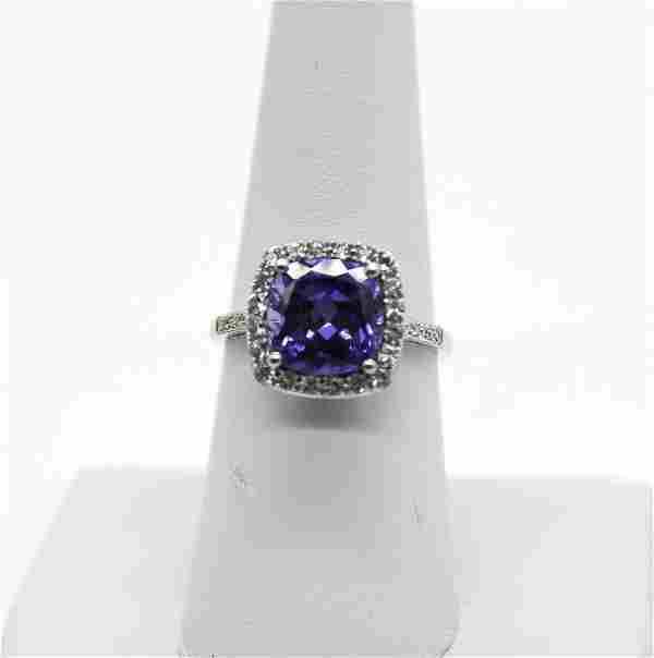 10kt W.G Sapphire & Diamond Ring A: $550