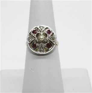 YG Pearl/Ruby/DIamond Ring A:$1,500