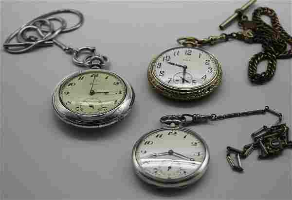 Lot of 3: 14K Elign/Buren/Unamed Pocket Watches
