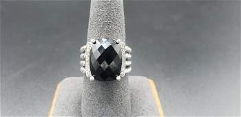 David Yurman Wheaton Ring Sterling Silver w/ Onyx and