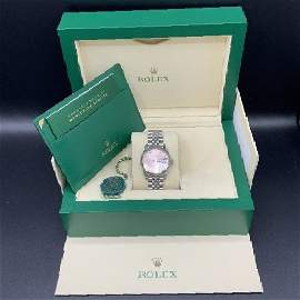 ROLEX Pink Oyster Perpetual Daydate Watch in 18KT White