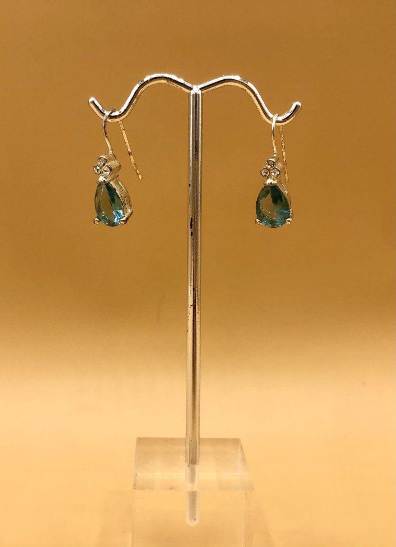 14Kt White Gold Aquamarine, Diamond Earrings