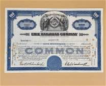 1950 Erie Railroad Company Stock for 100 Shares