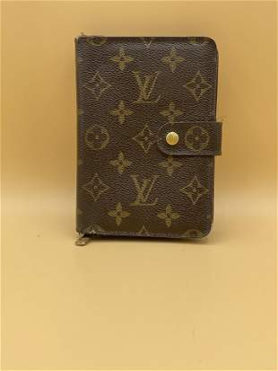LOUIS VUITTON Brown Monogram Leather Compact Zip Wallet