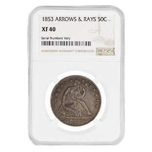 1853 Seated Liberty Silver Half Dollar 50C NGC XF 40