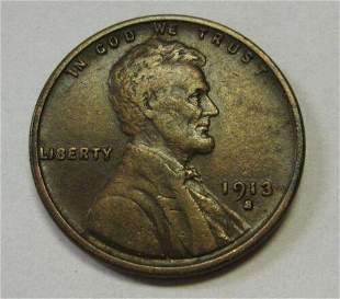 Authentic 1913-S Lincoln Cent Grading XF Attractive