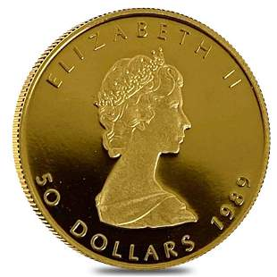 1989 1 oz Canadian Proof Gold Maple Leaf $50 Coin In