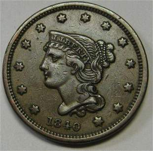 Authentic 1840 Small Date Braided Hair Large Cent