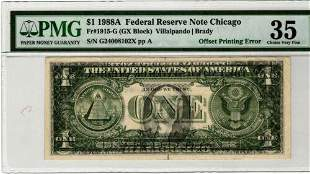Authentic 1988-A $1 Chicago Federal Reserve Note Offset