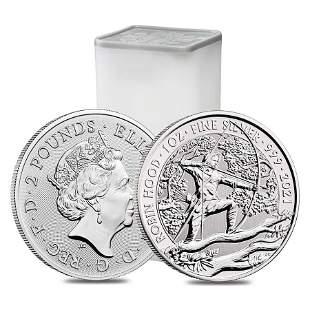 Roll of 25 - 2021 Great Britain 1 oz Robin Hood Silver