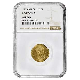 1875 Belgium 20 Francs Leopold II Gold Coin NGC MS 66+