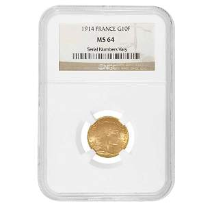 1914 France Gold 10 Francs Rooster NGC MS 64