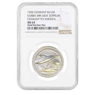 1928 Germany to America Graff Zeppelin Silver Medal NGC